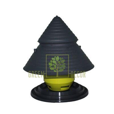 Кормушка для птиц Домик из пластика антрацит-фисташка