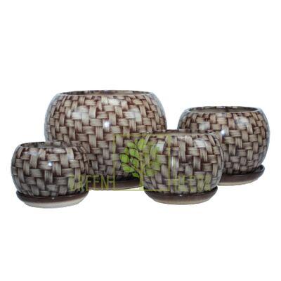 Купить  Горшок Premium ШАР Ротанг коричневый  в интернет-магазине Green Decor.