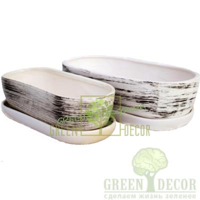 Купить  Горшок Premium Кактус Белый с чёрным  в интернет-магазине Green Decor.