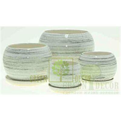 Купить  Горшок Premium ШАР Белый с чёрным  в интернет-магазине Green Decor.