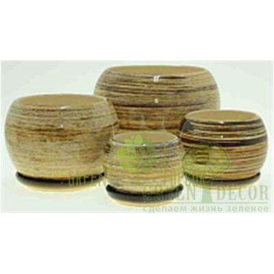 Купить  Горшок Premium ШАР Бежевый с бронзой  в интернет-магазине Green Decor.