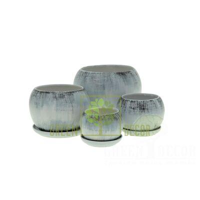 Купить  Горшок Premium ШАР Графит винтаж  в интернет-магазине Green Decor.