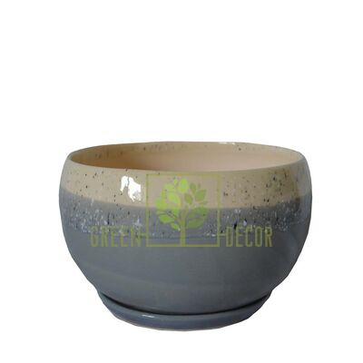 Купить  Горшок Шар-0,6 Мрамор серый с подставкой  в интернет-магазине Green Decor.