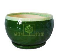 Горшок Шар-3 Мрамор зеленый с подставкой