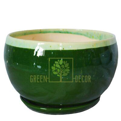 Купить  Горшок Шар-3 Мрамор зеленый с подставкой  в интернет-магазине Green Decor.