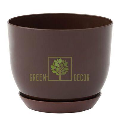 """Купить  Горшок для цветов """"CLASSIC-130"""" 1 л коричневый с подставкой  в интернет-магазине Green Decor."""