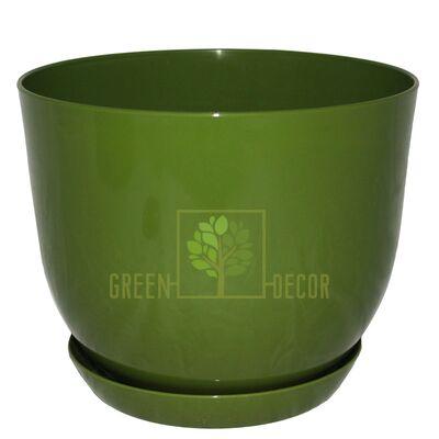 """Купить  Горшок для цветов """"CLASSIC-130"""" 1 л оливковый с подставкой  в интернет-магазине Green Decor."""
