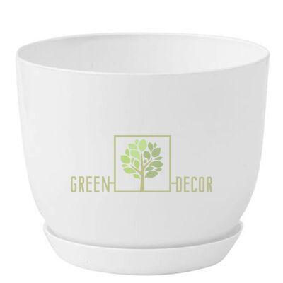 """Купить  Горшок для цветов """"CLASSIC-130"""" 1 л белый с подставкой  в интернет-магазине Green Decor."""