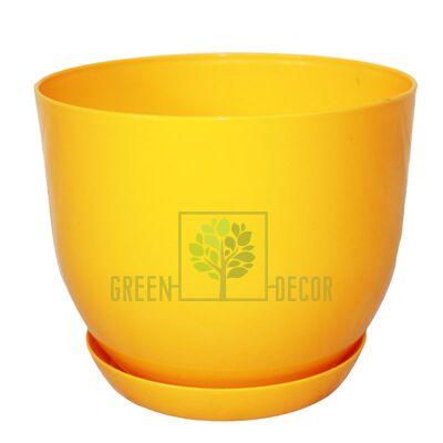 """Купить  Горшок для цветов """"CLASSIC-130"""" 1 л желтый с подставкой  в интернет-магазине Green Decor."""