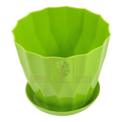 """Купить  Горшок для цветов """"КАРАТ-130"""" 0,8л фисташка с подставкой  в интернет-магазине Green Decor."""