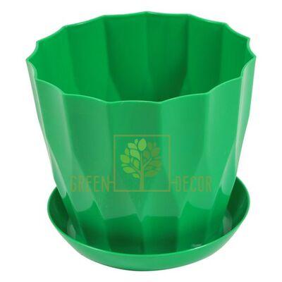 Горшок для цветов КАРАТ-130 зеленый с подставкой
