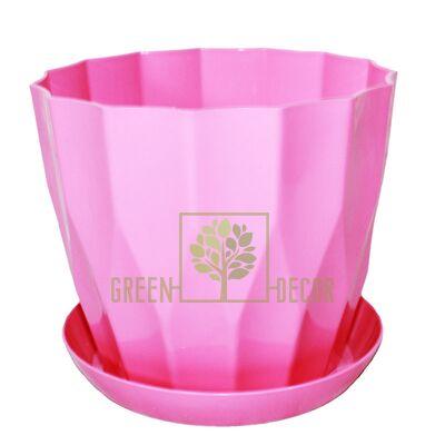 Горшок для цветов КАРАТ-190 розовый с подставкой