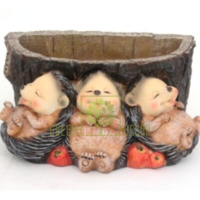 Кашпо для цветов Три спящих ёжика - оригинальный подарок для родных и близких