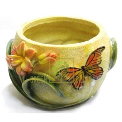 Кашпо для цветов С цветами и бабочкой - оригинальный подарок для родных и близких