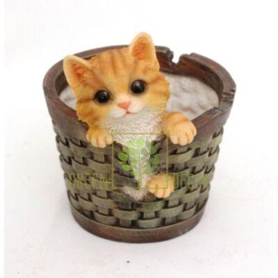 Кашпо для цветов Котенок в корзинке - оригинальный подарок для родных и близких