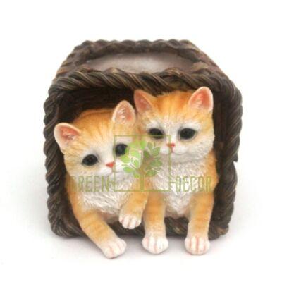 Кашпо для цветов Корзина с котятами - оригинальный подарок для родных и близких