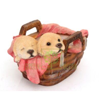 Кашпо для цветов Корзинка со щенками 2 - оригинальный подарок для родных и близких
