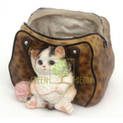 Кашпо для цветов Сумка с котенком и клубком 2 - оригинальный подарок для родных и близких