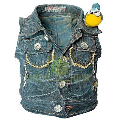 Кашпо для цветов Курточка з синичкой - оригинальный подарок для родных и близких