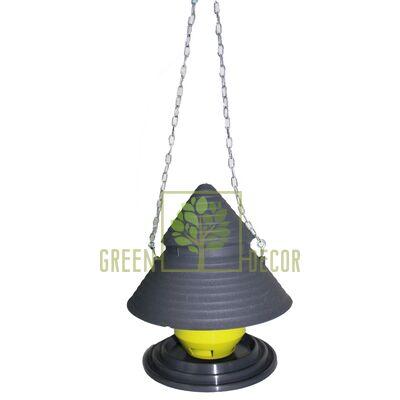 Годівниця для птахів Будиночок з ланцюжком із пластику антрацит-фісташка