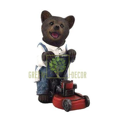 Садовая фигурка Мишка садовник с газонокосилкой малый