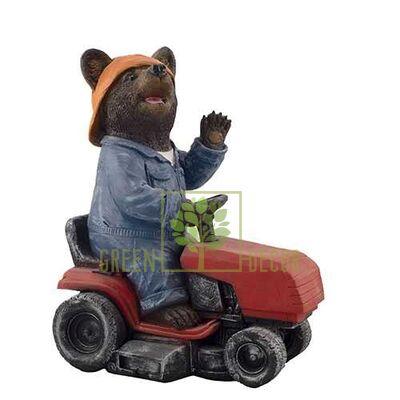 Фигурка садовая Мишка садовник на тракторе малый