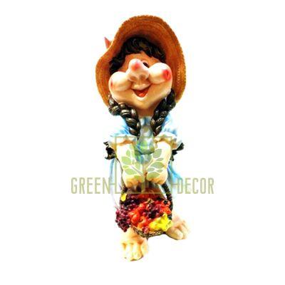 Садовая фигура ГНОМ Девочка с корзинкой 2
