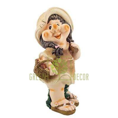 Садовая фигура ГНОМ Девочка с корзинкой 4