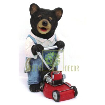Фигурка садовая Мишка садовник с газонокосилкой 30 см