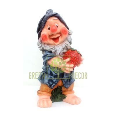 Садовая фигура ГНОМ С клубникой