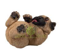 Садовая фигура Собака Мопс на спине