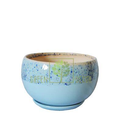 Горщик для квітів Куля-0,6 Мармур блакитний з підставкою