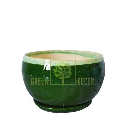 Горщик для квітів Куля-0,6 Мармур зелений з підставкою