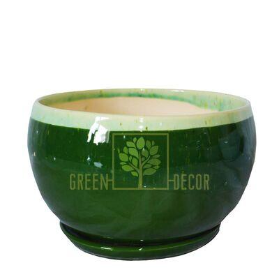 Горшок Шар 1,5 л Мрамор зеленый