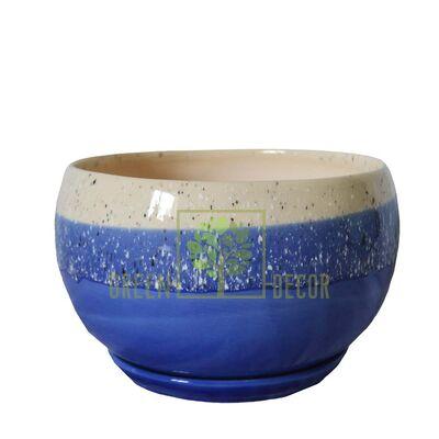 Горшок Шар 1,5 л Мрамор синий