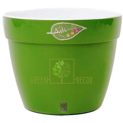 Горшок для цветов ASTI 2,5 л. зеленое-золото-белый с автополивом