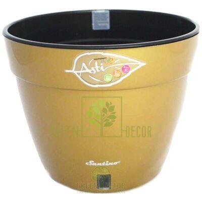 Горшок для цветов ASTI 2,5 л. золотой-черный с автополивом