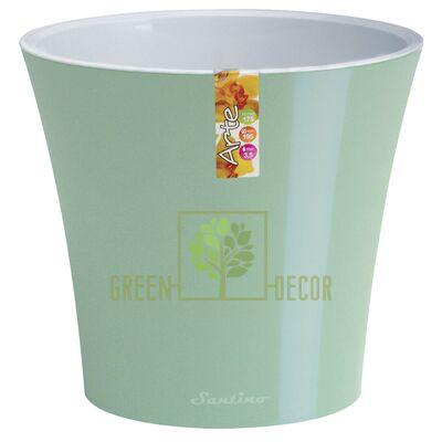 Горшок для цветов АРТЕ 1,2 л ментоловый-белый