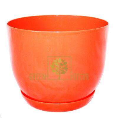 """Горшок для цветов """"CLASSIC-130"""" 1 л оранжевый с подставкой"""
