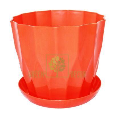 Горшок для цветов КАРАТ-160 оранжевый с подставкой