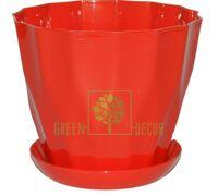Горшок для цветов КАРАТ-130 0,8л красный с подставкой