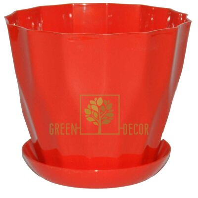 Горшок для цветов КАРАТ-190 красный с подставкой