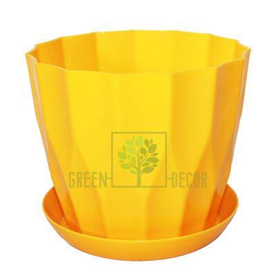 Горшок для цветов КАРАТ-130 желтый с подставкой