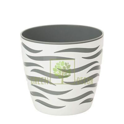 Горшок для цветов Сахара Дуо-14 1,65 л белый-серый