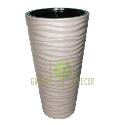 Горшок САХАРА СЛИМ-30 серый напольный  3D