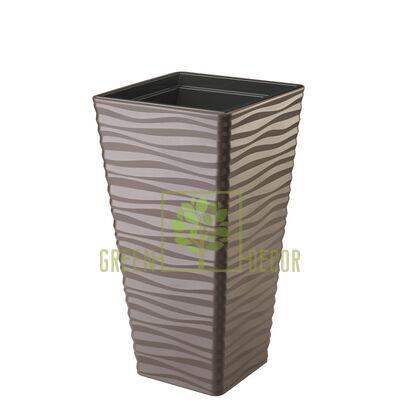 Горшок САХАРА СЛИМ КВАДРО-30 коричневый напольный  3D