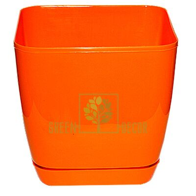 Горшок для цветов Тоскана Квадро-19 5 л оранжевый