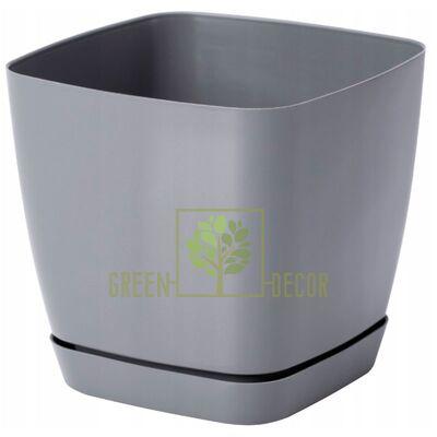 Горшок для цветов Тоскана Квадро-13 1,7 л серый