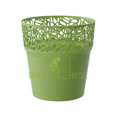 Кружевное кашпо для цветов NATURO-14 1 л оливковый