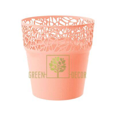 Кружевное кашпо для цветов NATURO-14 1 л персиковый